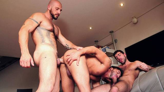 Damian Boss, Aitor Crash and Dominic Pacifico threesome action